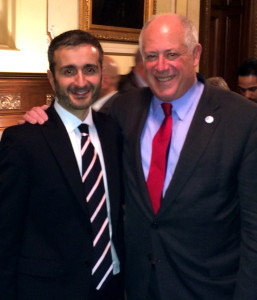 Illinois Gov. Pat Quinn and Equality Illinois CEO Bernard Cherkasov in the Executive Mansion after the marriage bill passed on Nov. 5, 2013