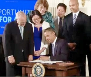 President Obama signs executive order prohibiting workplace discrimination by federal contractors against LGBT employees