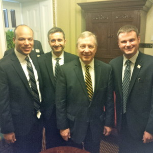 The Equality Illinois team meeting with Sen. Dick Durbin included (l-r) Director of Development Michael Nordman, CEO Bernard Cherkasov, Sen. Durbin, and Director of Public Policy Randy Hannig