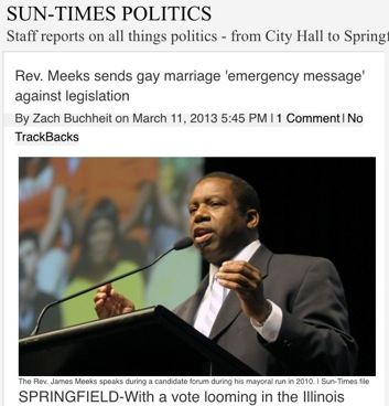 This image from a Sun-Times blog in 2013 shows Meeks' work against the freedom to marry