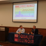 State Sen. Andy Manar (on right) was the lunchtime speaker, hosted by EQIL's Mike Ziri.