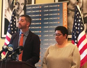 Equality Illinois CEO Brian C. Johnson and former Equality Illinois Board Chair Dalila Fridi at news conference